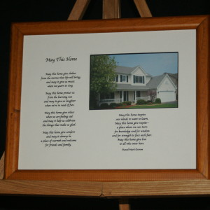 May This Home - White on Brown Frame 10x8