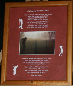 A Blessing for the Golfer 8x10 Portrait LtBrownFrame/BurntRedMatte