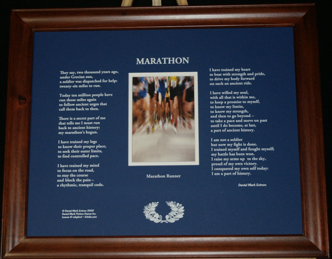 Marathon 20x16 Blue with Brown Frame