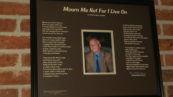 Mourn Me Not For I Live On: An Etched Memorial Poem  20×16 inches