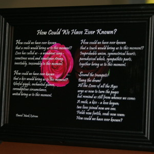 7 inches by 5 inches in Black Frame: A Wedding Poem for Anyone