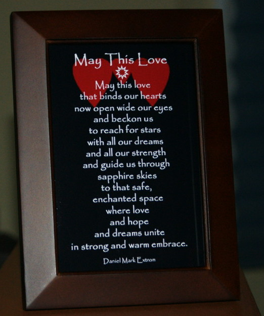 A love poem. Black Background. 4x6. Brown Frame