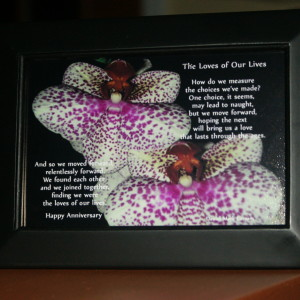 Loves of Our Lives. V1 6x4 Black Frame Orchids Anniversary