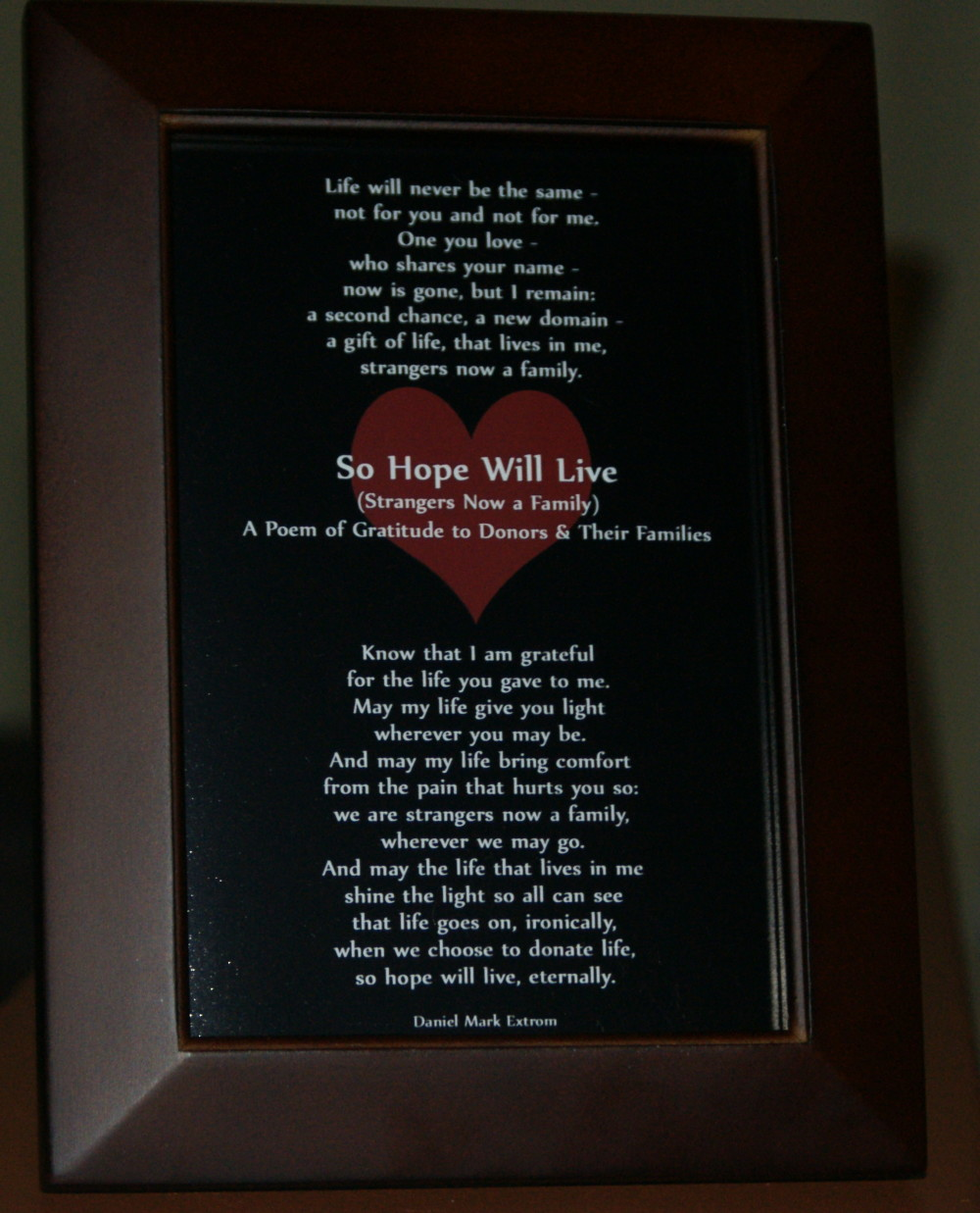 So Hope Will Live Brown Frame 4x6 Donate Life!