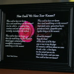 How Could We Have Ever Known? Black Frame 7x5 inches.