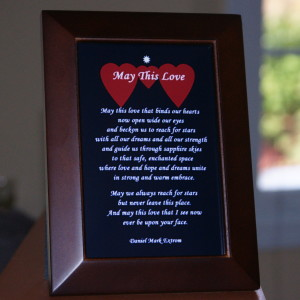 May This Love. Long Version 4x6 inches. Blue Background. Brown Frame.