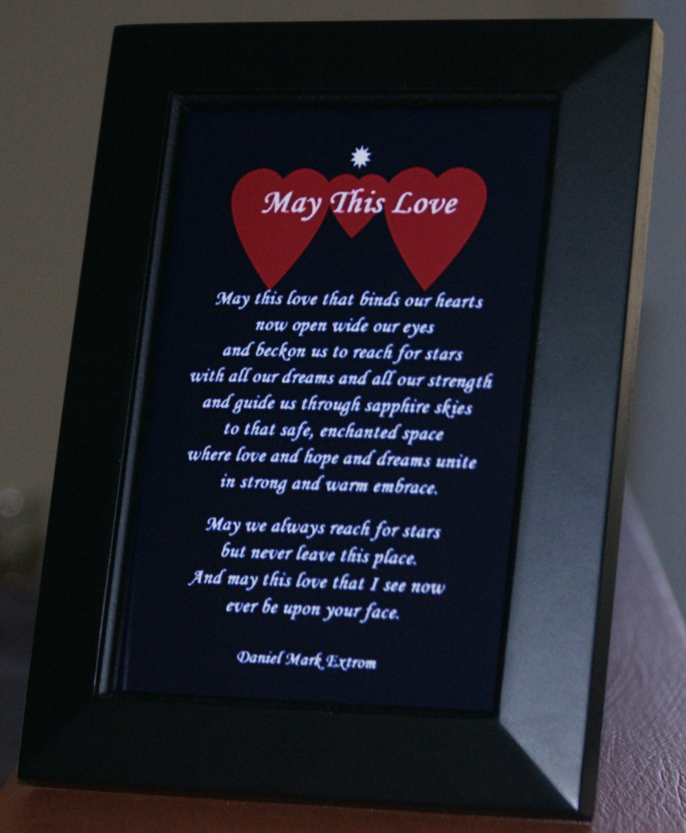 May This Love. A love poem. Longer Version. 4x6. Blue Background. Black Frame.