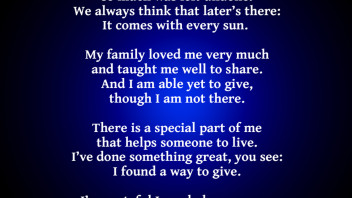 The Legacy: Another Poem to Encourage Organ Donor Registration