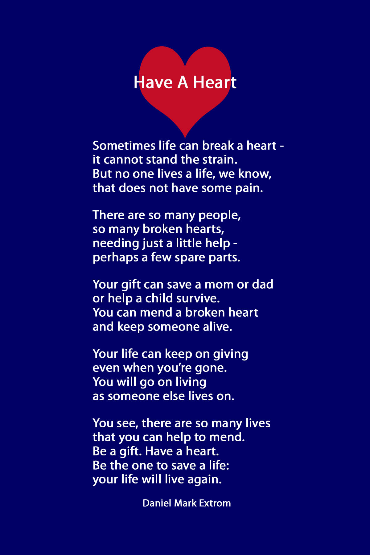 Have A Heart: A Downloadable Poem About Organ Donation ...